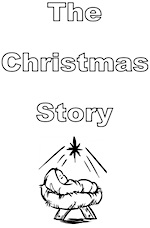 Large simple booklet to colour in telling the story of the first Christmas night